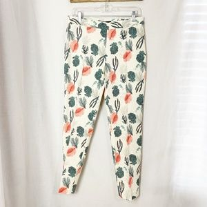 Zara Basic Spain NWOT Floral Linen Slacks Pants L